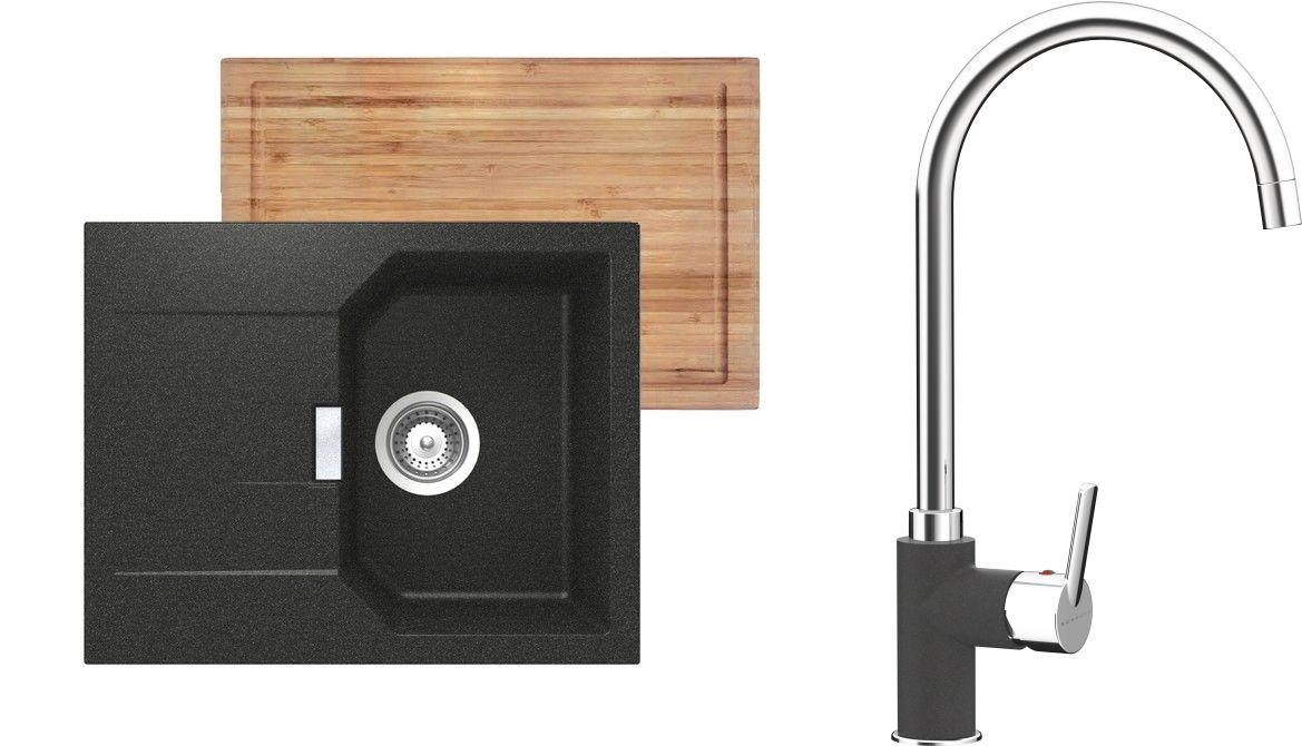 Set 2b Dřez Manhattan D-100XS Onyx + kuchyňská baterie Simi Onyx
