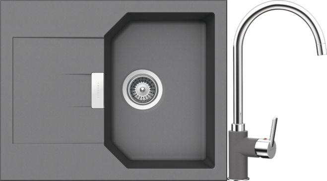 Set 2c Dřez Manhattan D-100XS Croma + kuchyňská baterie Simi Croma