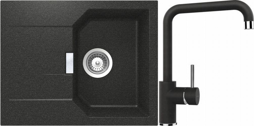 Set 3b Dřez Manhattan D-100XS Onyx + kuchyňská baterie Fonos Onyx