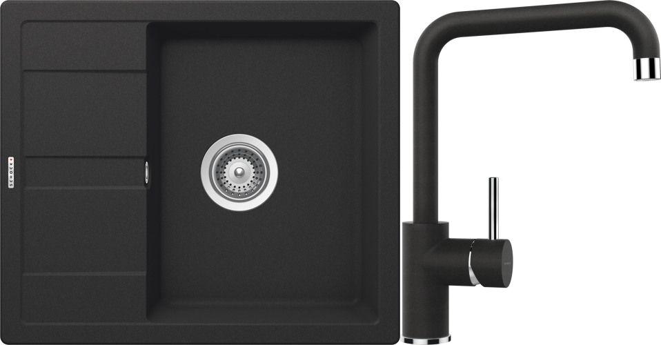 Set 9b Dřez Manhattan D-100 Onyx + kuchyňská baterie Fonos Onyx