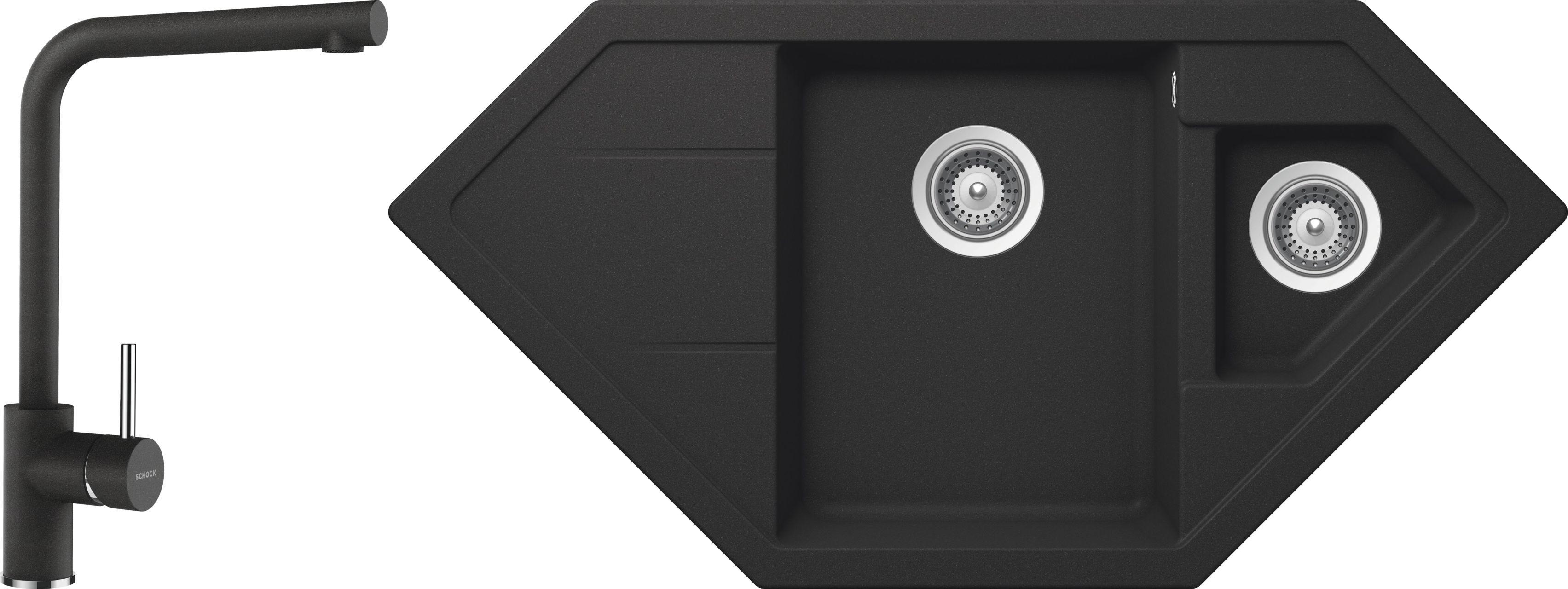 Set 38b Dřez Primus C-150 Onyx + kuchyňská baterie Napos Onyx