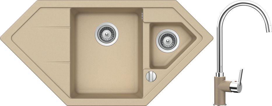 Set 37d Dřez Primus C-150 Moonstone + kuchyňská baterie Simi Moonstone