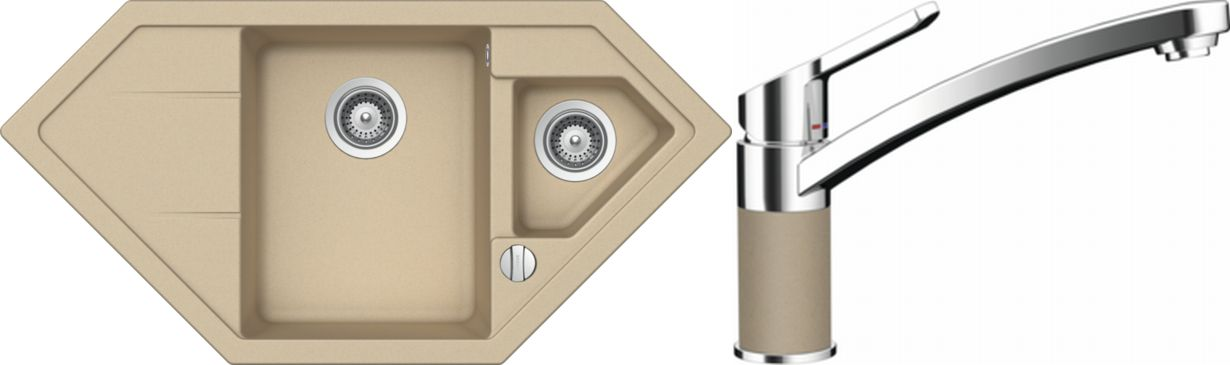 Set 39d Dřez Primus C-150 Moonstone + kuchyňská baterie SC-90 Moonstone