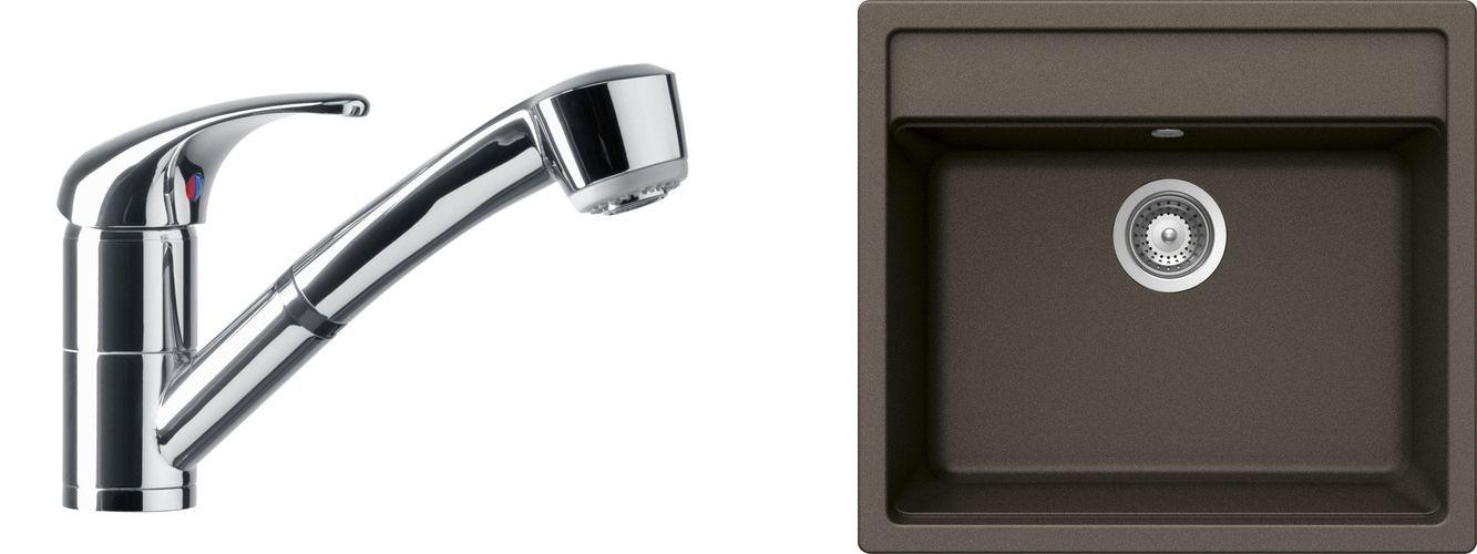 Set 49c Dřez Mono N-100 Bronze + kuchyňská baterie Dike Chrom